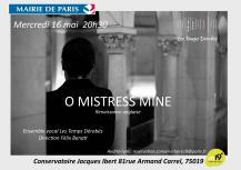 « O mistress mine » – Le mercredi 16 mai 2018 à l'auditorium du conservatoire du 19ème arrondissement, Paris, © Charlotte Lakits